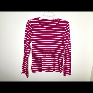 < Tommy Hilfiger Pink & White Striped Top >
